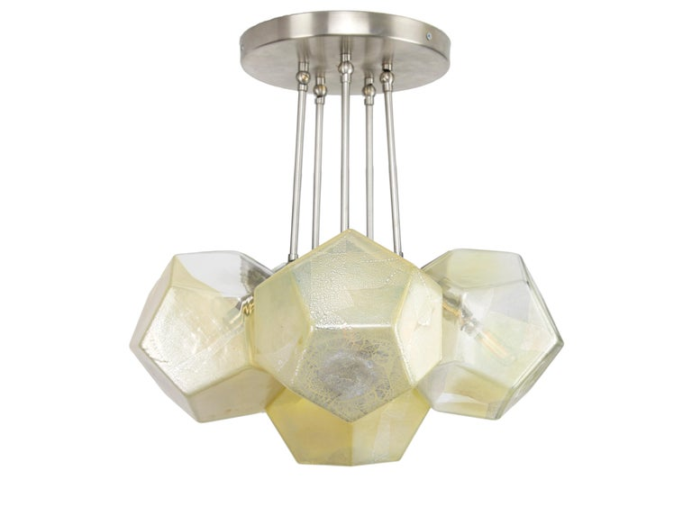 Hedron Series Chandelier in Silver Leaf, Handmade Contemporary Glass Lighting For Sale