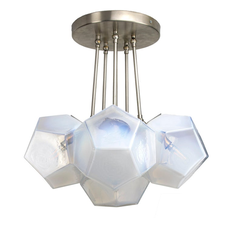 Hedron Series Chandelier in Opaline, Handmade Contemporary Glass Lighting For Sale