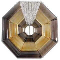Hedy Martinelli, 18 Karat Weißgold, Diamant Smoky Topas Art-Deco, Fell Pin
