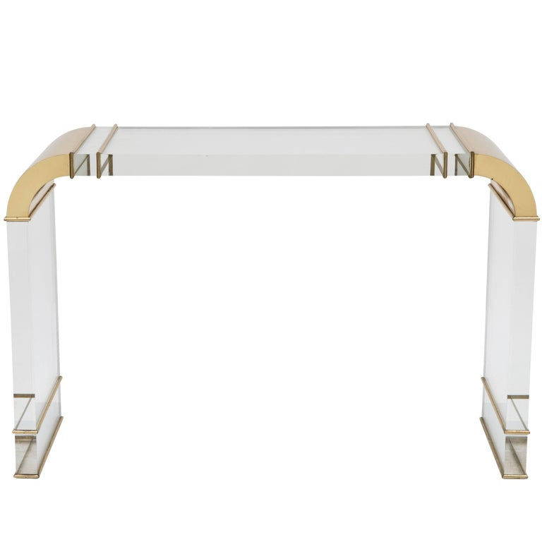 Heffner Console in Acrylic and Brass