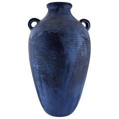 Hegnetslund Lervarefabrik, Denmark, Large Floor Vase in Glazed Ceramics
