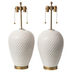 Hegnetslund Table Lamps, Ceramic, White, Textured Relief, Signed