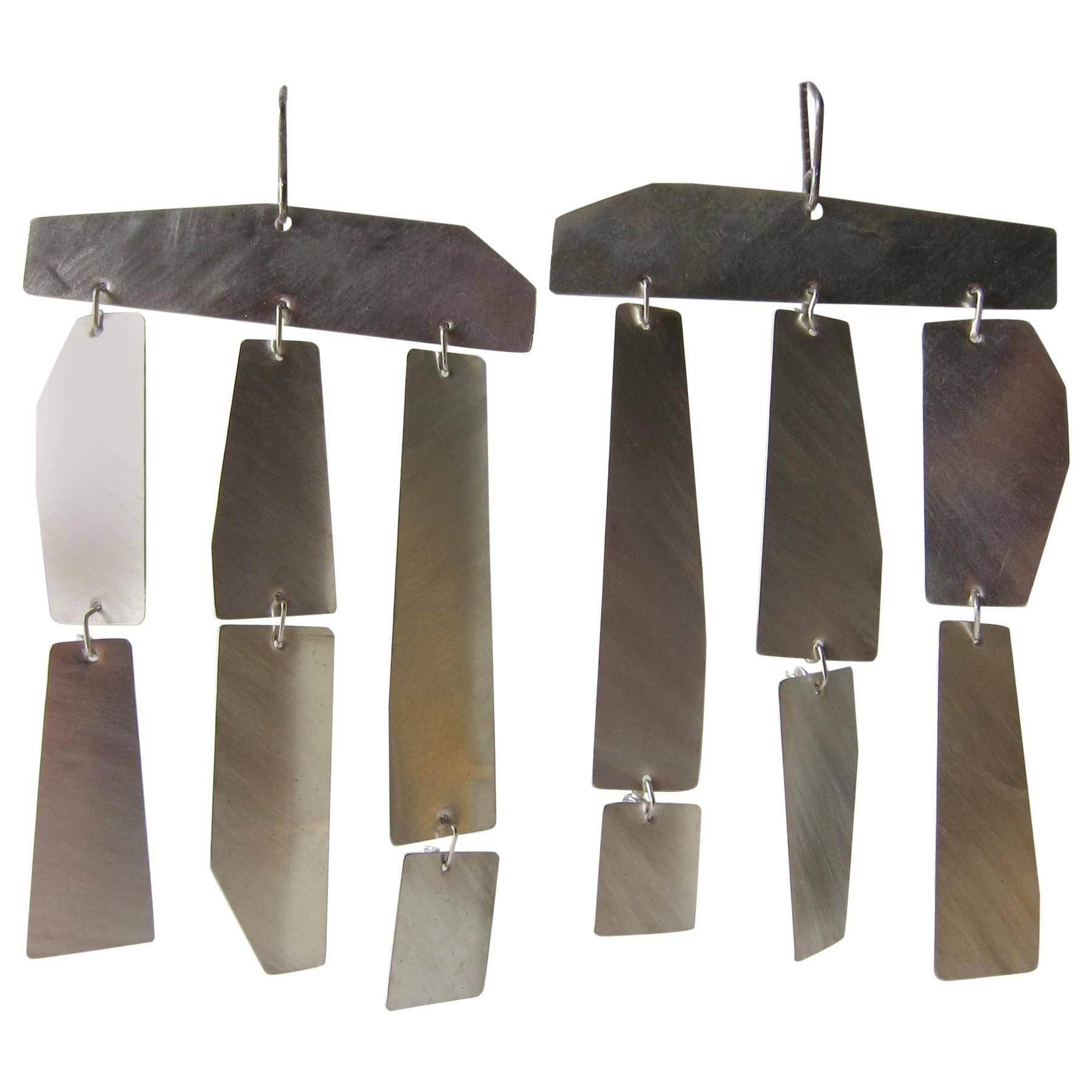 Heidi Abrahamson Brushed Sterling Silver Kinetic Earrings