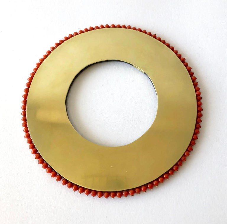 Bead Heidi Abrahamson Coral Acrylic and Brass Post Modernist Bangle Bracelet For Sale