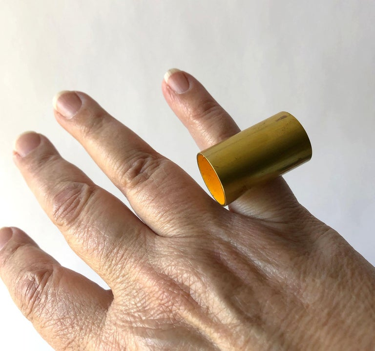 Modernist Heidi Abrahamson Golden Yellow Enameled Brass Sterling Silver Tube Ring For Sale