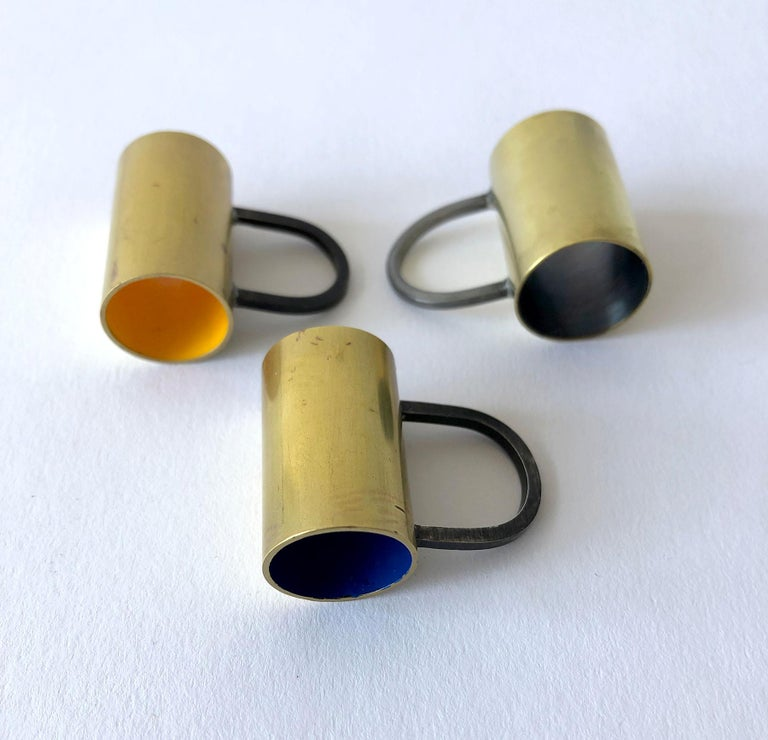 Heidi Abrahamson Golden Yellow Enameled Brass Sterling Silver Tube Ring In Good Condition For Sale In Los Angeles, CA