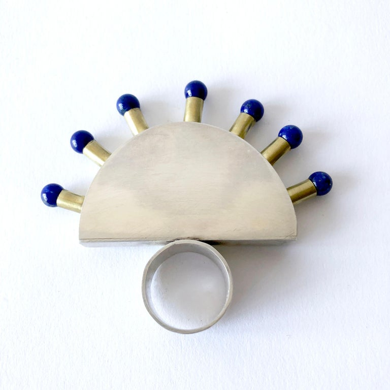 Artisan Heidi Abrahamson Lapis Lazuli Sterling Silver Brass Post Modernist Super Ring For Sale