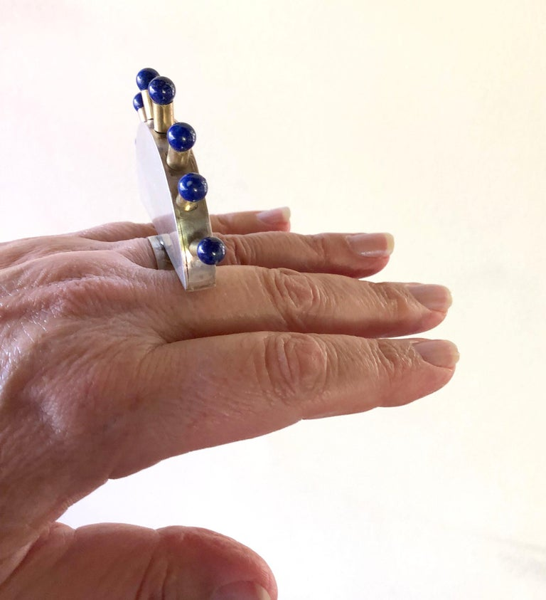Women's Heidi Abrahamson Lapis Lazuli Sterling Silver Brass Post Modernist Super Ring For Sale