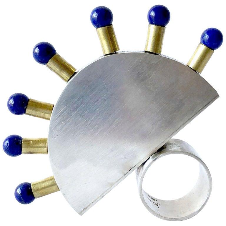Heidi Abrahamson Lapis Lazuli Sterling Silver Brass Post Modernist Super Ring For Sale