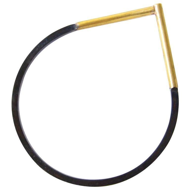 Modernist Heidi Abrahamson Sterling Brass Post Modern Bangle Bracelet For Sale