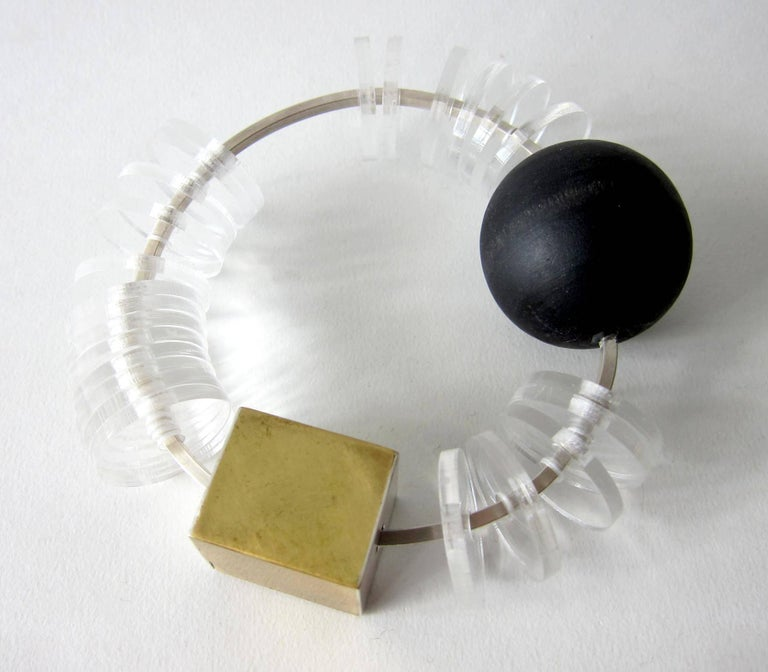 Heidi Abrahamson Sterling Silver Acrylic Brass Wood Kinetic Bracelet In Excellent Condition For Sale In Los Angeles, CA