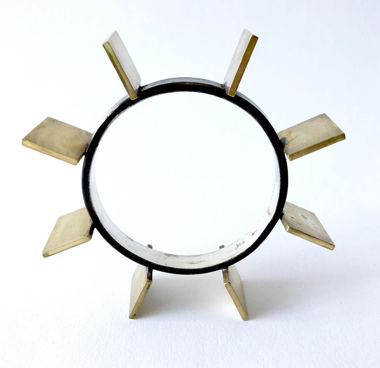 Oxidized sterling silver and brass geometric modernist bracelet by Heidi Abrahamson.  Bracelet measures 2.75