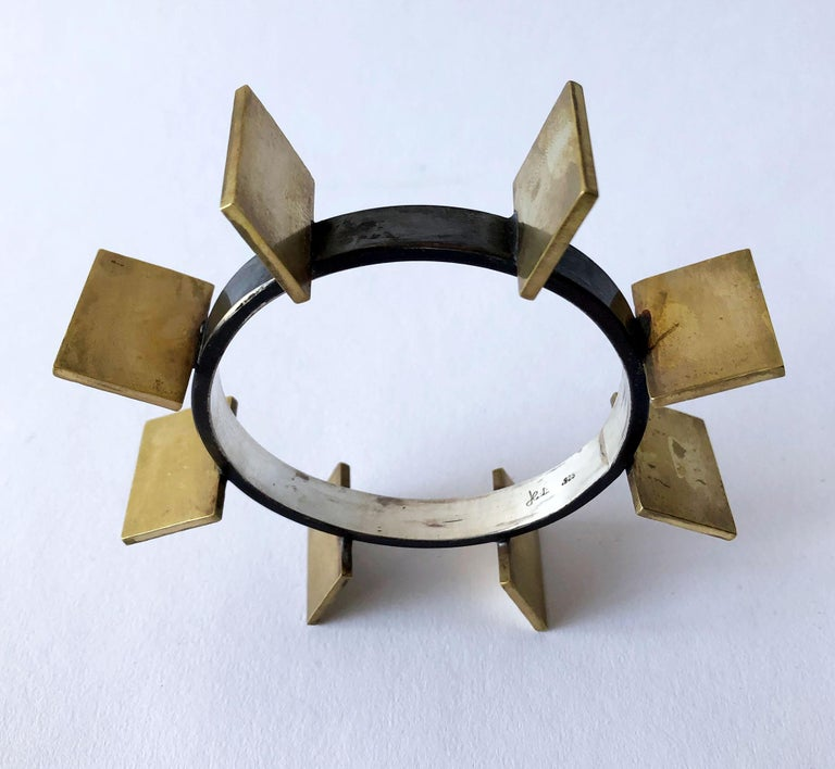Artisan Heidi Abrahamson Sterling Silver Brass Geometric Modernist Bracelet For Sale