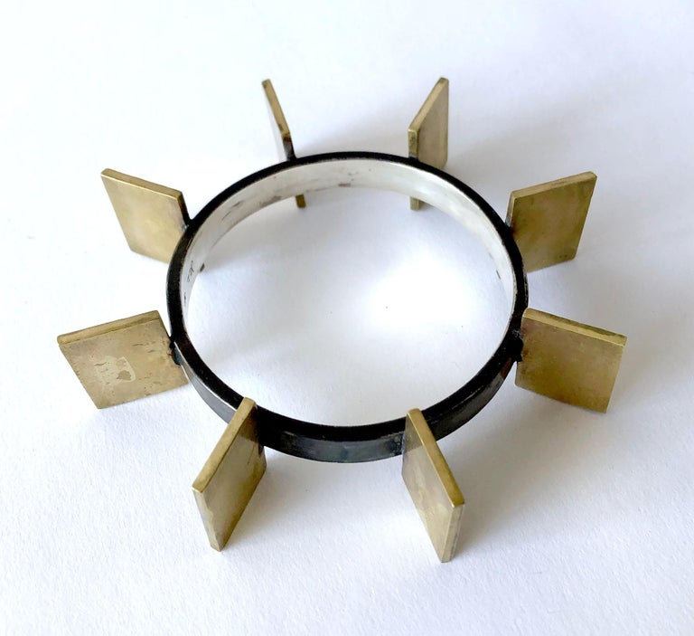 Heidi Abrahamson Sterling Silver Brass Geometric Modernist Bracelet In Good Condition For Sale In Los Angeles, CA