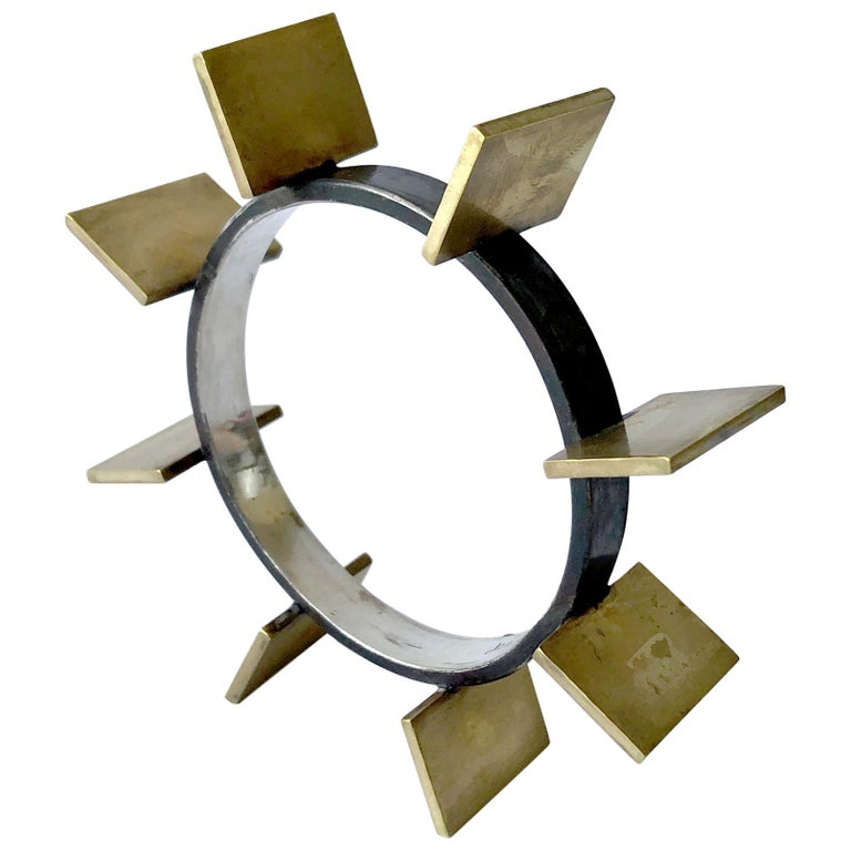 Heidi Abrahamson Sterling Silver Brass Geometric Modernist Bracelet For Sale