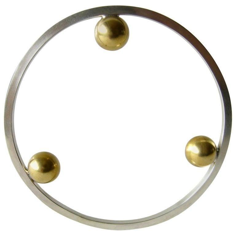 Modernist Heidi Abrahamson Sterling Silver Brass Postmodernist Style Bangle Bracelet For Sale