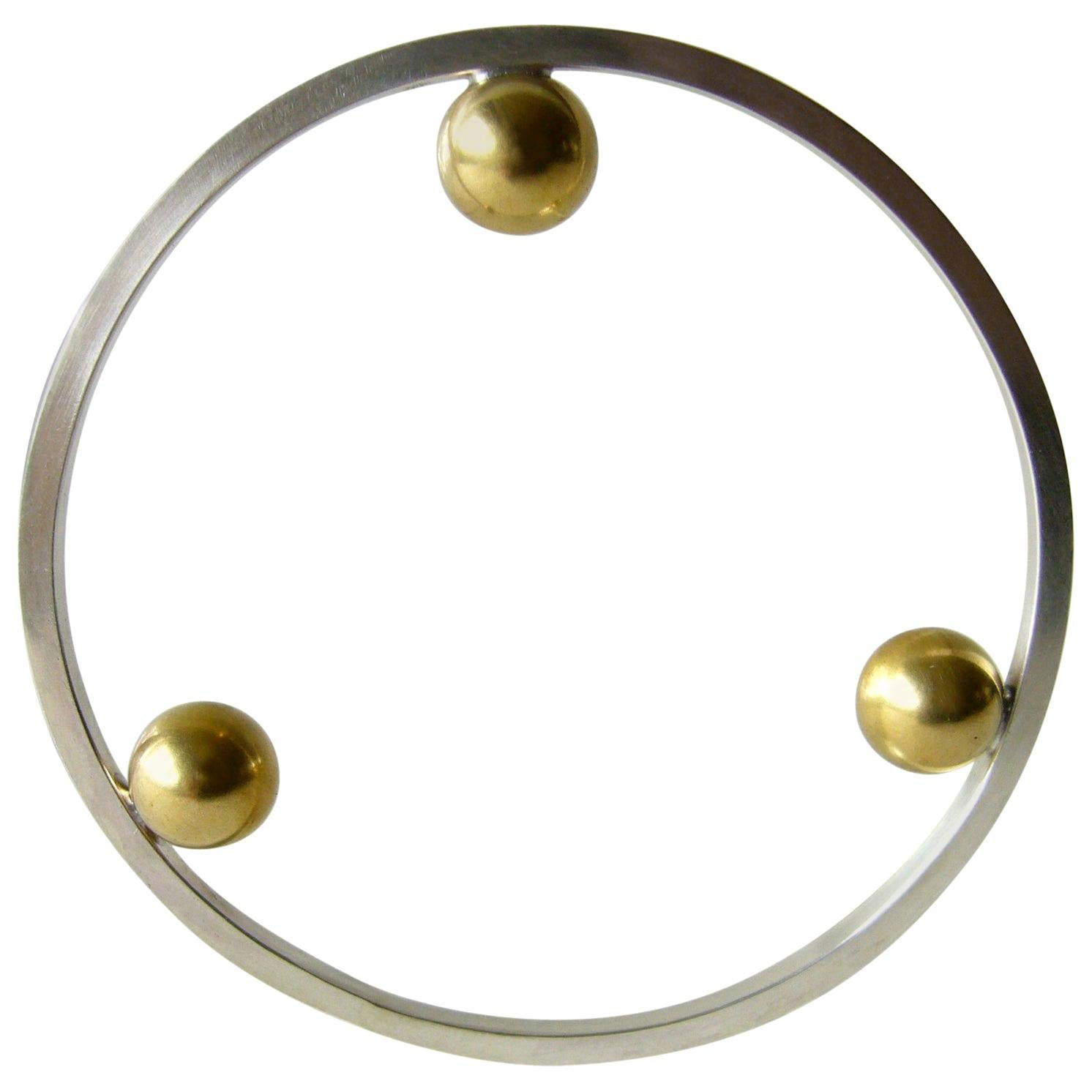 Heidi Abrahamson Sterling Silver Brass Postmodernist Style Bangle Bracelet