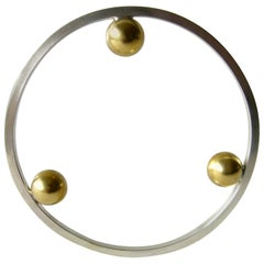 Heidi Abrahamson Sterling Silver Brass Postmodernist Style Bangle Bracelet