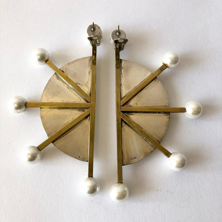 Artisan Heidi Abrahamson Sterling Silver Brass Shell Pearl Post Modernist Super Earrings For Sale