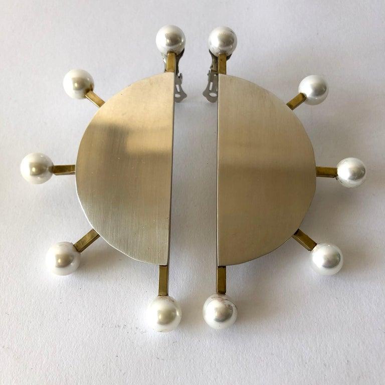 Bead Heidi Abrahamson Sterling Silver Brass Shell Pearl Post Modernist Super Earrings For Sale