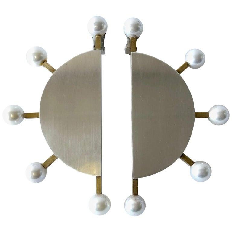 Heidi Abrahamson Sterling Silver Brass Shell Pearl Post Modernist Super Earrings For Sale
