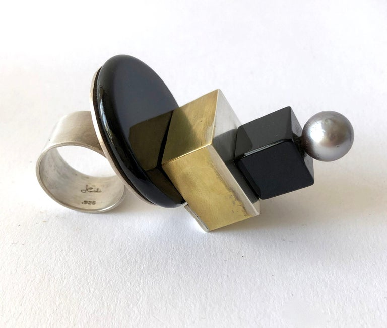 Bead Heidi Abrahamson Sterling Silver Onyx Brass Tahitian Pearl Post Modernist Ring For Sale