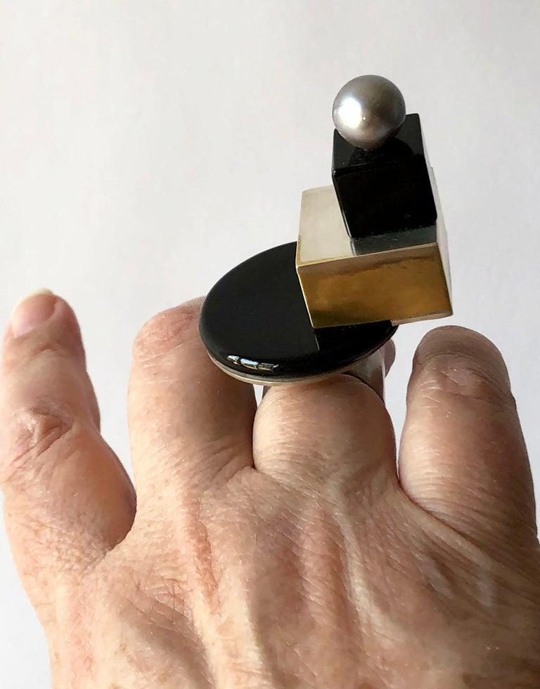 Heidi Abrahamson Sterling Silver Onyx Brass Tahitian Pearl Post Modernist Ring For Sale 1