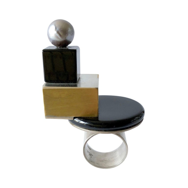 Heidi Abrahamson Sterling Silver Onyx Brass Tahitian Pearl Post Modernist Ring For Sale