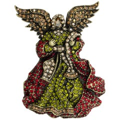 "Heidi Daus ""Angel on Your Shoulder"" Pave Crystal Angel Pin Brooch"