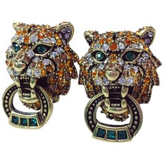 "Heidi Daus ""Animal Magic"" Tiger Clip on Earrings"