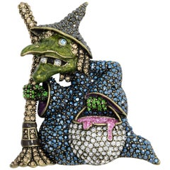 "Heidi Daus ""Broom Heidi"" Pave Crystal Witch Pin, Brass Tone"