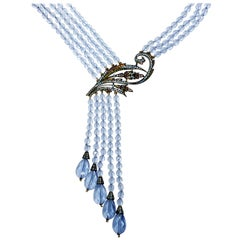 Heidi Daus Cascading Aquamarine Crystal Multi Strand Drop Lavalier Necklace