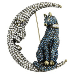 Heidi Daus Cat on the Moon Bewitching Pin Brooch, Pave Crystals, Halloween