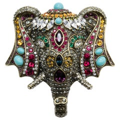 Heidi Daus Chic Sheik Jeweled Elephant Pin Brooch, Antique Brass Tone