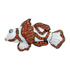 Heidi Daus Clownfish Pin Brooch, White and Orange, Crystals, Enamel, Brass Tone