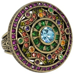 Heidi Daus Colorful Crystal Kaleidoscope Flower Cocktail Ring in Gold