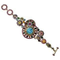 Heidi Daus Colorful Crystal Kaleidoscope Flower Link Bracelet, Toggle Clasp