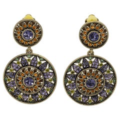Heidi Daus Colorful Crystal Kaleidoscope Round Clip On Dangle Earrings