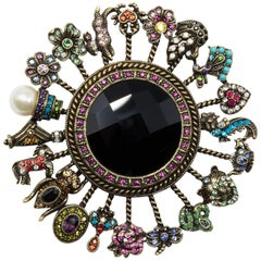 Heidi Daus Crystal Charm Collection Pin Brooch, Antique Brass Tone