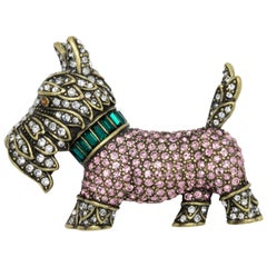 Heidi Daus Diamond in the Woof Scottie Dog Brooch Pin, Pink Green Clear Crystals