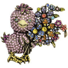 Heidi Daus Duck Tales Crystal Jewel Chick Floral Pin with Bouquet, Brass Tone