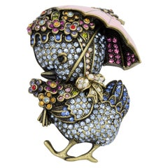 Heidi Daus Duck Tales Umbrella Pin Brooch, Pink Enamel and Pave Crystals