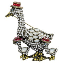 Heidi Daus Easter Bonnets Crystal Encrusted Duck Pin Brooch, Brass Tone
