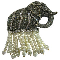 Heidi Daus Elefantastic Swarovski Crystals and Pearl Tassel Elephant Brooch Pin
