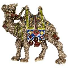 Heidi Daus Elegant Expedition Jeweled Camel Pin Brooch, Antique Brass Tone