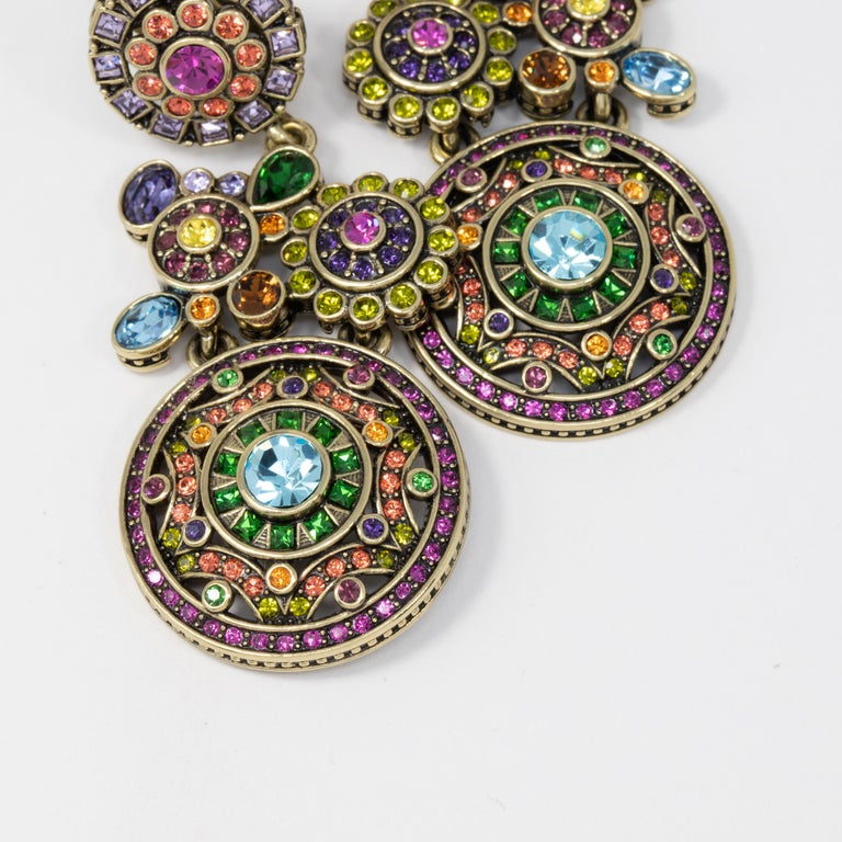 Heidi Daus Embellished Kaleidoscope Flower Crystal Large Dangling Clip Earrings In New Condition For Sale In Milford, DE