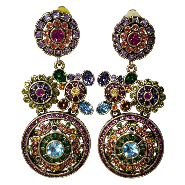 Heidi Daus Embellished Kaleidoscope Flower Crystal Large Dangling Clip Earrings For Sale