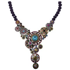 Heidi Daus Embellished Kaleidoscope Flower Crystal Large Pendant Necklace