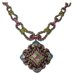 Heidi Daus Embellished Large Pendant Pave Crystal Rope Motif  Link Necklace