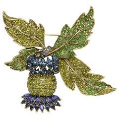Heidi Daus Embellished Leaf and Fruit Pave Crystal Brooch